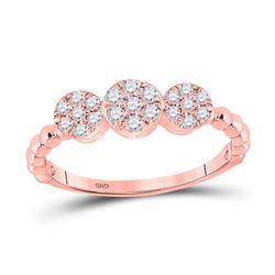 1/3 CTW Womens Round Diamond Triple Flower Cluster Ring 10kt Rose Gold - REF-29Y4N