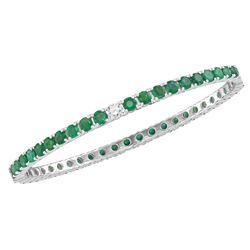 7 & 5/8 CTW Womens Emerald Lab-Created Emerald Bangle Bracelet 18kt White Gold - REF-702W2H