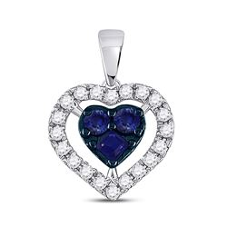 1/2 CTW Womens Round Blue Sapphire Diamond Heart Pendant 10kt White Gold - REF-13R5X