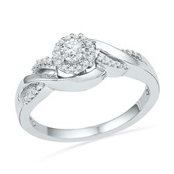 1/6 CTW Womens Round Diamond Solitaire Promise Ring 10kt White Gold - REF-31H4R