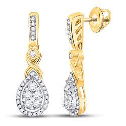 1/2 CTW Womens Round Diamond Teardrop Cluster Dangle Earrings 10kt Yellow Gold - REF-47F6W
