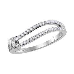 1/6 CTW Womens Round Diamond Split Fashion Ring 10kt White Gold - REF-20V5Y