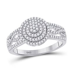 1/3 CTW Womens Round Diamond Circle Cluster Ring 10kt White Gold - REF-27F3W