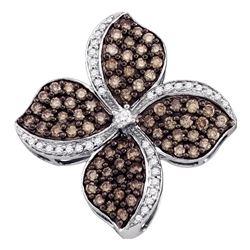 1 CTW Womens Round Brown Diamond Flower Cluster Pendant 10kt White Gold - REF-54T5V