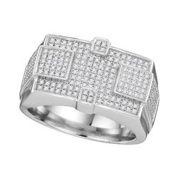 1/2 CTW Mens Round Diamond Rectangle Cluster Ring 10kt White Gold - REF-63Y5N