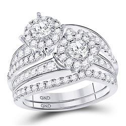 1 & 3/4 CTW Round Diamond Bridal Wedding Ring 14kt White Gold - REF-186V7Y