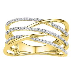 1/3 CTW Womens Round Diamond Triple Row Openwork Crossover Band Ring 10kt Yellow Gold - REF-28H5R