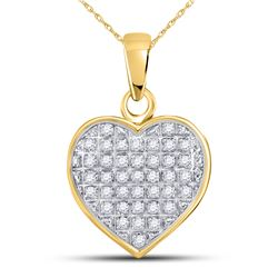 1/10 CTW Womens Round Diamond Heart Cluster Pendant 10kt Yellow Gold - REF-12X2T