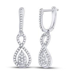 3/8 CTW Womens Round Diamond Teardrop Dangle Earrings 10kt White Gold - REF-36T7V