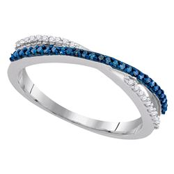 1/6 CTW Womens Round Blue Color Enhanced Diamond Slender Crossover Band Ring 10kt White Gold - REF-1