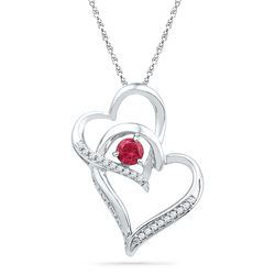 1/3 CTW Womens Round Lab-Created Ruby Heart Pendant 10kt White Gold - REF-10A9M