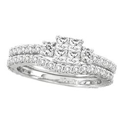 1 & 1/2 CTW Princess Diamond Bridal Wedding Ring 14kt White Gold - REF-136F4W