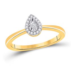 1/12 CTW Womens Round Diamond Teardrop Promise Ring 10kt Yellow Gold - REF-16M4F