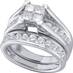 1 & 1/2 CTW Princess Diamond Bridal Wedding Ring 14kt White Gold - REF-173W9H