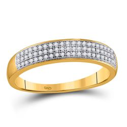 1/5 CTW Mens Round Diamond Pave Band Ring 10kt Yellow Gold - REF-23R3X