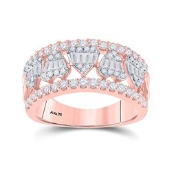 1 CTW Womens Baguette Diamond Statement Heart Band Ring 14kt Rose Gold - REF-117H8R
