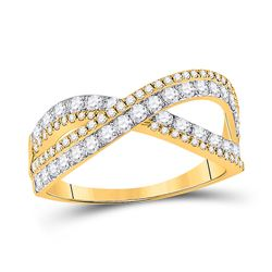 3/4 CTW Womens Round Diamond Fashion Crossover Band Ring 14kt Yellow Gold - REF-56W6H