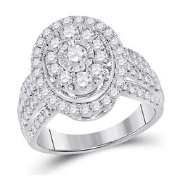 1 & 1/2 CTW Womens Round Diamond Oval Cluster Ring 14kt White Gold - REF-143Y3N
