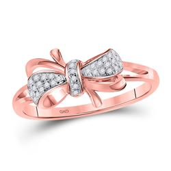 1/10 CTW Womens Round Diamond Ribbon Bow Knot Ring 10kt Rose Gold - REF-19A6M