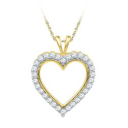1/4 CTW Womens Round Diamond Heart Outline Pendant 10kt Yellow Gold - REF-20W5H