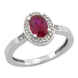1.53 CTW Ruby & Diamond Ring 10K White Gold - REF-32K5W