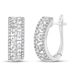 1/2 CTW Womens Round Diamond Oblong Hoop Earrings 14kt White Gold - REF-47V6Y