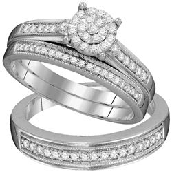 3/8 CTW His Hers Round Diamond Cluster Matching Wedding Set 10kt White Gold - REF-58A2M