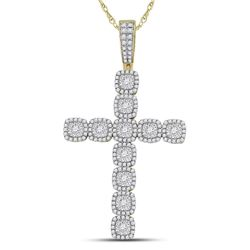 2 CTW Mens Round Diamond Roman Cross Charm Pendant 14kt Yellow Gold - REF-181Y3N