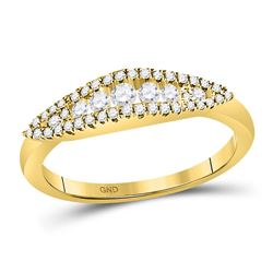 3/8 CTW Womens Round Diamond Fashion Band Ring 14kt Yellow Gold - REF-42V2Y