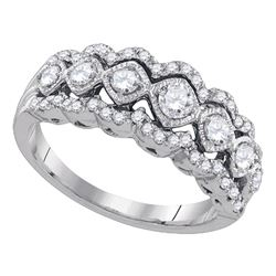 3/4 CTW Womens Round Diamond Contoured Fashion Band Ring 14kt White Gold - REF-83H7R