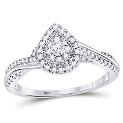 1/4 CTW Round Diamond Teardrop Cluster Bridal Wedding Engagement Ring 14kt White Gold - REF-46A4M