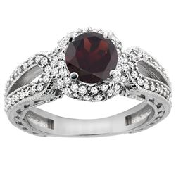1.51 CTW Garnet & Diamond Ring 14K White Gold - REF-87M2A