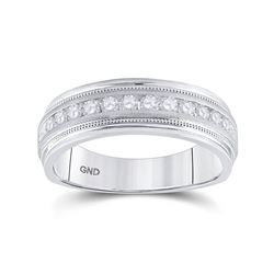 1/2 CTW Mens Round Diamond Wedding Single Row Band Ring 10kt White Gold - REF-68H2R