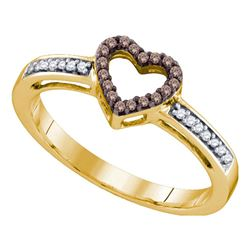 1/8 CTW Womens Round Brown Diamond Heart Ring 10kt Yellow Gold - REF-15V5Y