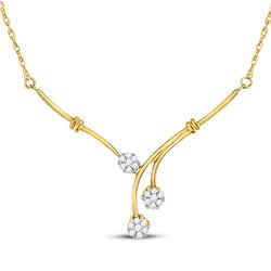 1/4 CTW Womens Round Diamond Triple Flower Cluster Necklace 14kt Yellow Gold - REF-54N5A