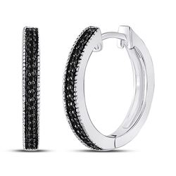 1/10 CTW Womens Round Black Color Enhanced Diamond Hoop Earrings 10kt White Gold - REF-12R2X
