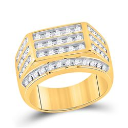 1 & 1/2 CTW Mens Round Diamond Fashion Cluster Ring 10kt Yellow Gold - REF-143Y2N