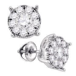 1/3 CTW Womens Round Diamond Cluster Earrings 14kt White Gold - REF-29A5M