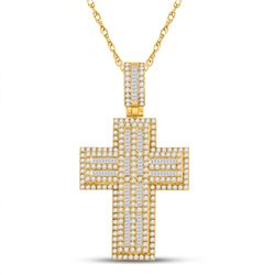 3 & 1/4 CTW Mens Round Diamond Cross Charm Pendant 10kt Yellow Gold - REF-245V4Y