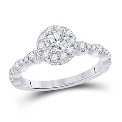 1 CTW Round Diamond Halo Bridal Wedding Engagement Ring 14kt White Gold - REF-165F5W