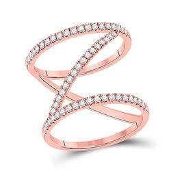 1/2 CTW Womens Round Diamond Negative-Space Fashion Ring 14kt Rose Gold - REF-51X2T