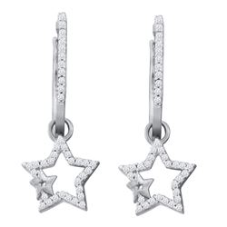1/4 CTW Womens Round Diamond Star Dangle Earrings 10kt White Gold - REF-25W9H