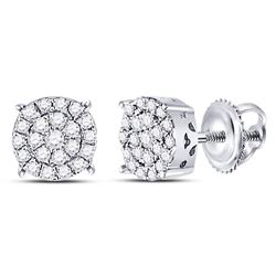 1/4 CTW Womens Round Diamond Fashion Cluster Earrings 10kt White Gold - REF-23W3H
