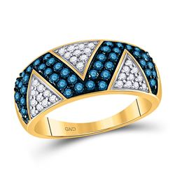 7/8 CTW Womens Round Blue Color Enhanced Diamond Fashion Ring 10kt Yellow Gold - REF-38W2H