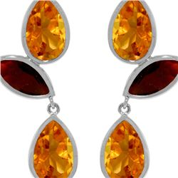 Genuine 13 ctw Citrine & Garnet Earrings 14KT White Gold - REF-58R7P