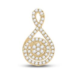 1/4 CTW Womens Round Diamond Cluster Pendant 14kt Yellow Gold - REF-34Y3N