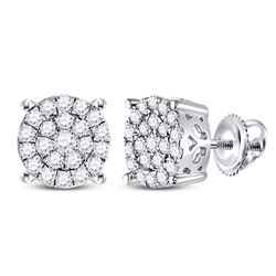 1 CTW Womens Round Diamond Cluster Earrings 14kt White Gold - REF-64A8M