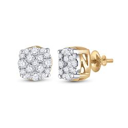 1/5 CTW Mens Round Diamond Cluster Earrings 10kt Yellow Gold - REF-19M2F