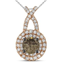 1/2 CTW Womens Round Brown Diamond Solitaire Pendant 14kt Rose Gold - REF-45M2F