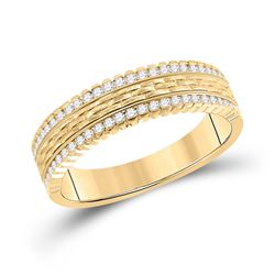 1/3 CTW Mens Round Diamond Wedding Brick Inlay Band Ring 14kt Yellow Gold - REF-81A7M